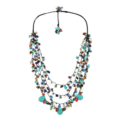 Handmade Cotton Rope Multicolor Gemstone Teardrop Necklace (Thailand)