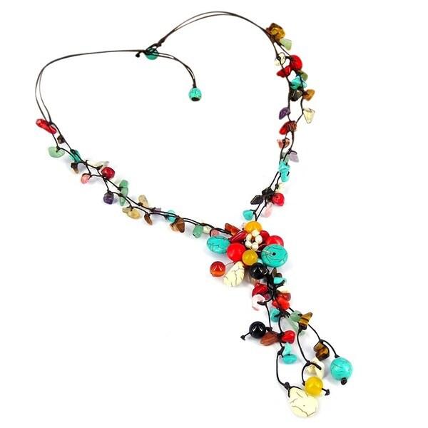 Handmade Cotton Rope Multi-strand Gemstone Tassel Necklace (Thailand)