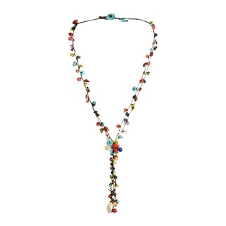 Cotton Rope Multi-strand Gemstone Tassel Necklace (Thailand)