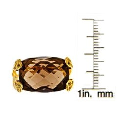 Anika and August Gold over Silver Smokey Quartz and Yellow Sapphire Ring - Thumbnail 2