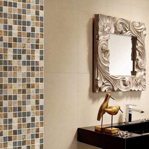 SomerTile 7.75x7.75-in Montage Tressor Decor Ceramic Tile (Pack of 10)