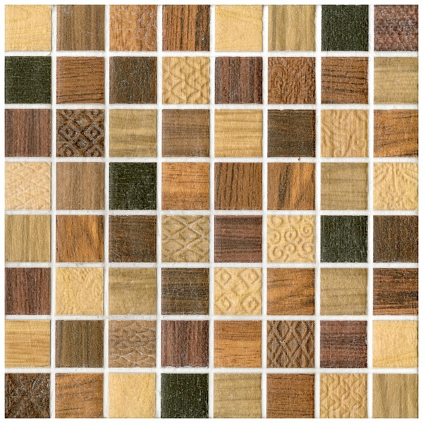 SomerTile 7.75x7.75-in Montage Divine Decor Ceramic Tile (Pack of 10)