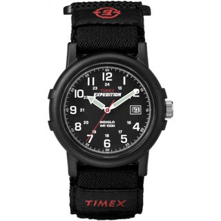Timex Men's T40011 Expedition Camper All Black Fast Wrap Hook and Loop Strap Watch