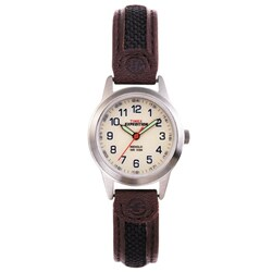 Timex Women's T41181 Expedition Metal Field Brown Leather and Nylon Strap Watch - black