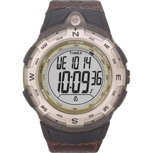 Timex T427619J Men's Expedition Digital Compass CAT Brown Leather Strap Watch