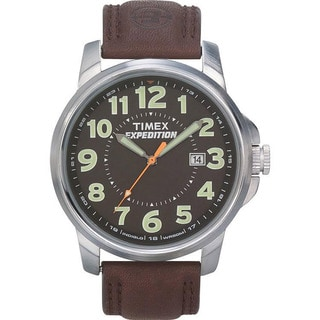 Timex Men's T44921 Expedition Metal Field Black Dial Brown Leather Strap Watch
