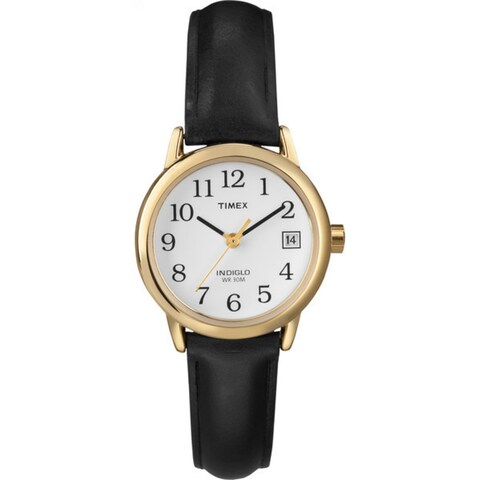 Timex Women's T2H341 Easy Reader 25mm Black Leather Strap Watch