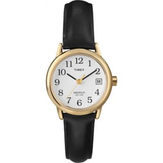 Timex Women's T2H341 Easy Reader Black Leather Strap Watch|https://ak1.ostkcdn.com/images/products/5142870/P12987456.jpg?impolicy=medium