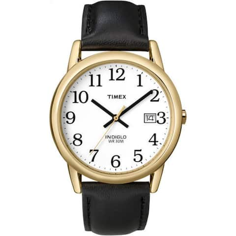 Timex Men's T2H291 Easy Reader Black/Gold-Tone Leather Strap Watch