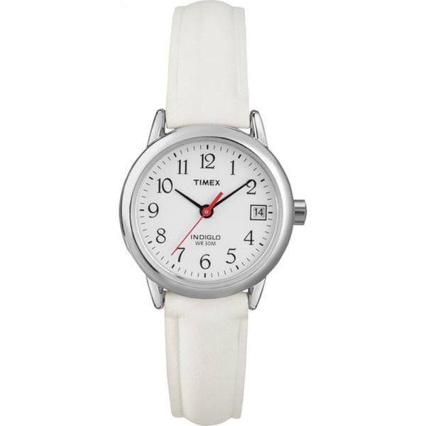 Timex Women's T2H391 Easy Reader White Leather Strap Nurse's Watch