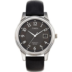 Timex T293219J Men's Elevated Classics Dress Black Leather Strap Watch