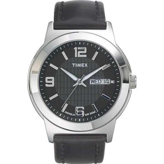 Timex T2E5619J Men's Elevated Classics Dress Black Leather Strap Watch