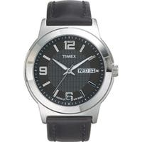 Timex  Men's Elevated Classics Dress Black Leather Strap Watch