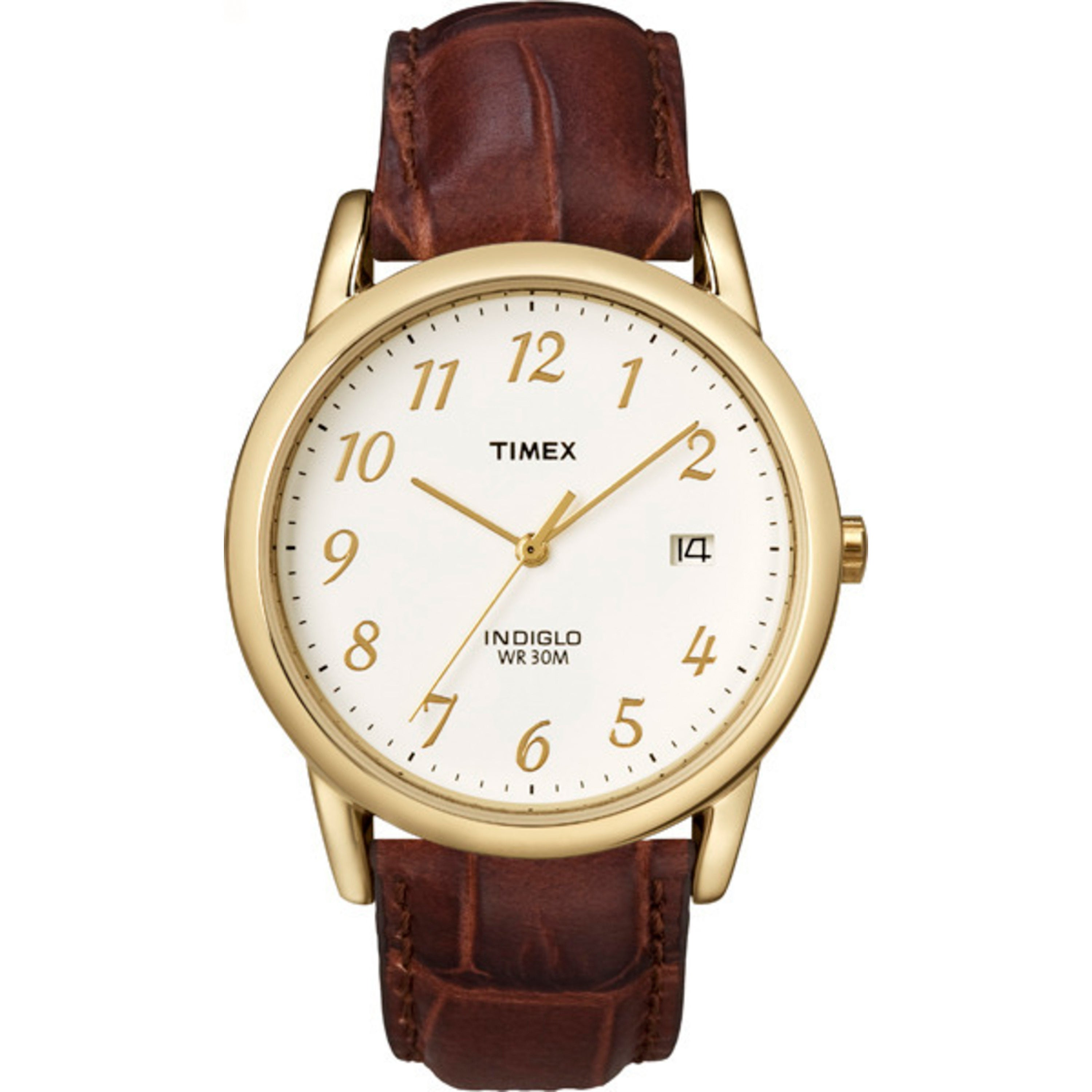 Timex Men's T2M441 Easy Reader Brown Leather Strap Watch,...