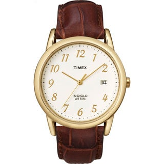 Timex Men's T2M441 Easy Reader Brown Leather Strap Watch - YELLOW