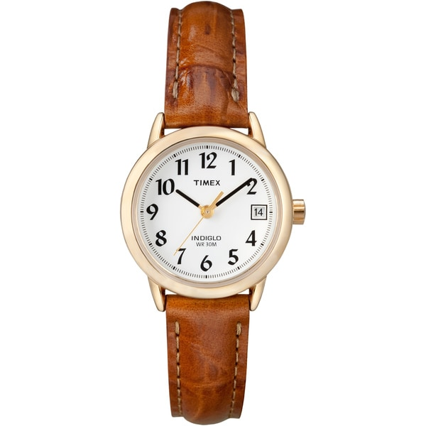 Timex Women's T2J761 Easy Reader 25mm Brown Croco Leather Strap Watch
