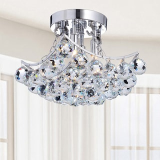 Indoor 4 Light Chrome And Crystal Flushmount Chandelier
