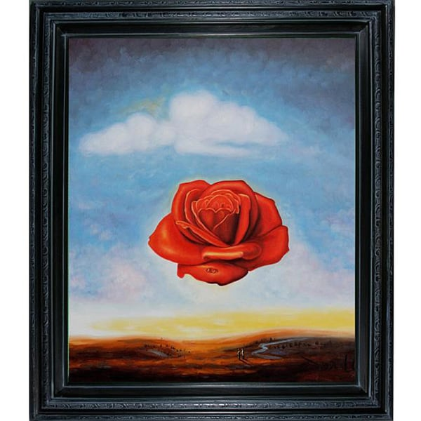 The Meditative Rose Oil Paint By Salvador Dali Reprint On Framed Canvas Wall Art