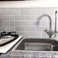 SomerTile 3x6-inch Alloy Subway Stainless Steel Over Porcelain Mosaic Wall Tile (64 tiles/8 sqft.)