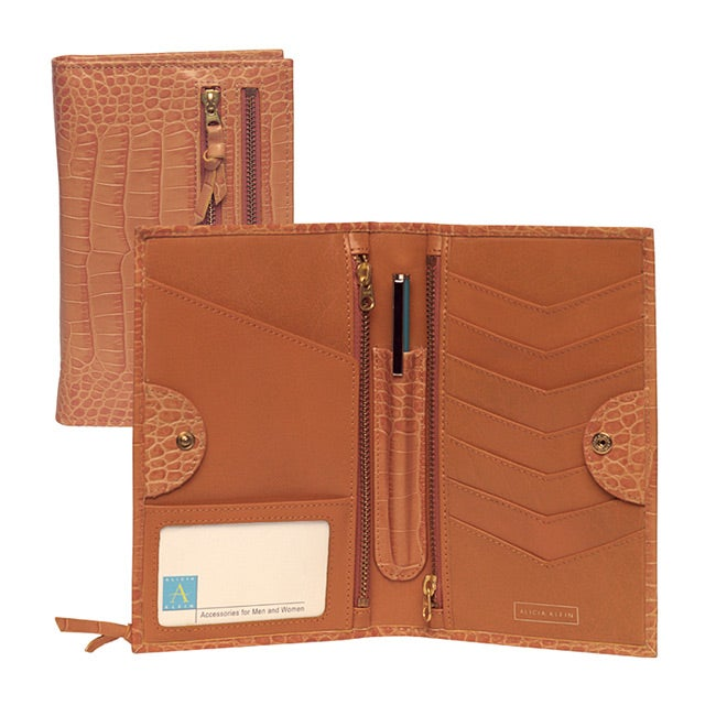 Tour One Women's Croco Embossed Leather Travel Wallet
