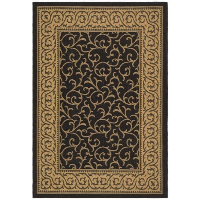 "Safavieh Black/Natural Indoor/Outdoor Polypropylene Rug (2'7"" x 5')"