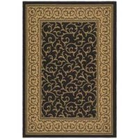 Safavieh Courtyard Scrollwork Black/ Natural Indoor/ Outdoor Rug - 4' x 5'7