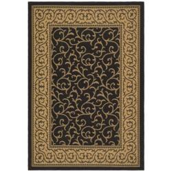 "Safavieh Courtyard Scrollwork Black/ Natural Indoor/ Outdoor Rug (5'3"" x 7'7"")"