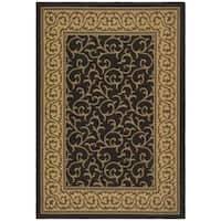 Safavieh Courtyard Scrollwork Black/ Natural Indoor/ Outdoor Rug - 5'3 x 7'7