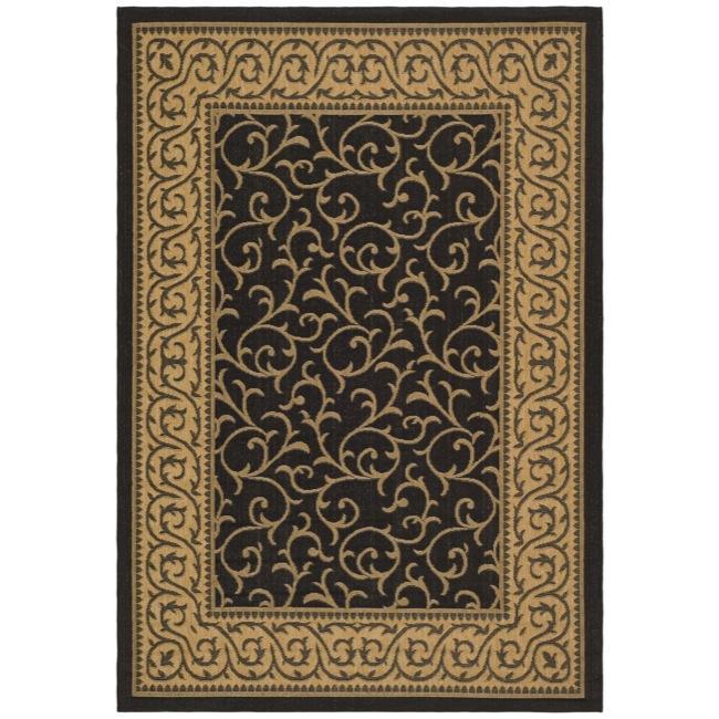 Safavieh Courtyard Scrollwork Black/ Natural Indoor/ Outdoor Rug - 8' x 11'