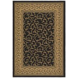 Safavieh Courtyard Scrollwork Black/ Natural Indoor/ Outdoor Rug - 8' x 11' - Thumbnail 0