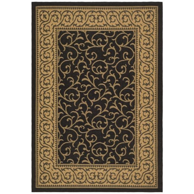 Safavieh Courtyard Scrollwork Black/ Natural Indoor/ Outdoor Rug - 9' x 12'