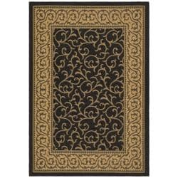 Safavieh Courtyard Scrollwork Black/ Natural Indoor/ Outdoor Rug - 9' x 12' - Thumbnail 0