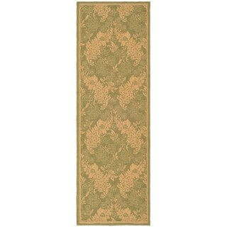 "Safavieh Courtyard Divine Green/ Natural Indoor/ Outdoor Runner Rug - 2'3"" x 6'7"""