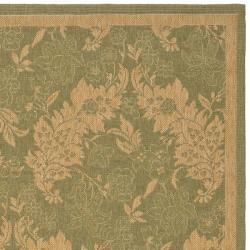 Safavieh Courtyard Divine Green/ Natural Indoor/ Outdoor Rug (8' x 11') - Thumbnail 1