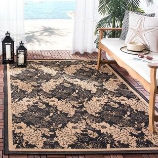 Safavieh Courtyard Divine Black/ Natural Indoor/ Outdoor Runner Rug (2'4 x 6'7)