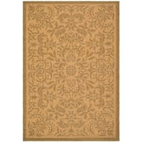 Safavieh Courtyard Graceful Natural/ Golden Indoor/ Outdoor Rug - 9' x 12'