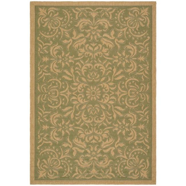 Safavieh Indoor/ Outdoor Green/ Natural Geometric Rug (8' x 11')