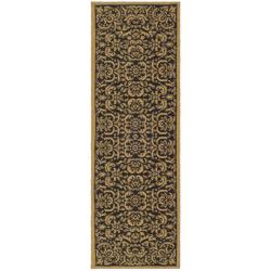 Safavieh Courtyard Graceful Black/ Natural Indoor/ Outdoor Runner (2'2 x 9'11) - 2'2 x 9'11