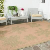 Safavieh Courtyard Ferns Natural/ Green Indoor/ Outdoor Rug - 4' x 5'7