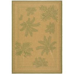 Safavieh Indoor/ Outdoor Natural/ Green Rug (5'3 x 7'7)