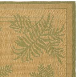 Safavieh Courtyard Ferns Natural/ Green Indoor/ Outdoor Rug (6'7 x 9'6) - Thumbnail 1