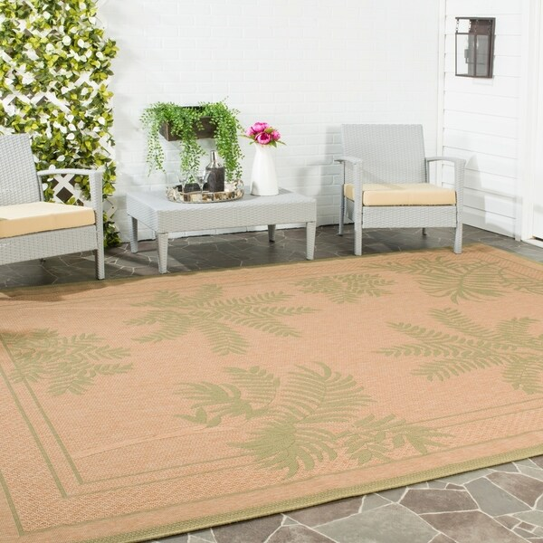 Safavieh Courtyard Ferns Natural/ Green Indoor/ Outdoor Rug - 8' x 11'