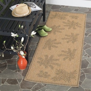 Safavieh Courtyard Ferns Natural/ Gold Indoor/ Outdoor Runner (2'2 x 9'11)
