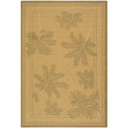 "Safavieh Courtyard Ferns Natural/ Gold Indoor/ Outdoor Rug (5'3"" x 7'7"")"
