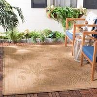 Safavieh Courtyard Ferns Natural/ Gold Indoor/ Outdoor Rug - 5'3 x 7'7