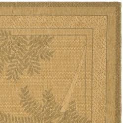 Safavieh Courtyard Ferns Natural/ Gold Indoor/ Outdoor Rug (8' x 11') - Thumbnail 1