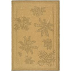 Safavieh Courtyard Ferns Natural/ Gold Indoor/ Outdoor Rug - 7'10 x 11' - Thumbnail 0