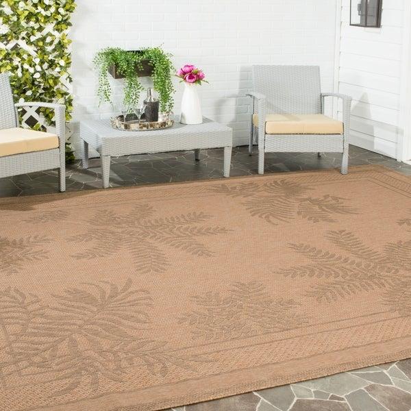 Safavieh Courtyard Ferns Natural/ Gold Indoor/ Outdoor Rug - 9' x 12'