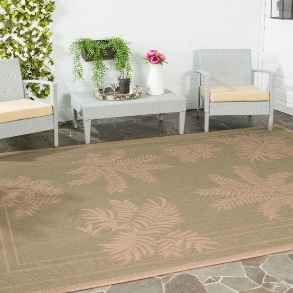 Safavieh Courtyard Ferns Green/ Natural Indoor/ Outdoor Rug - 5'3' x 7'7'