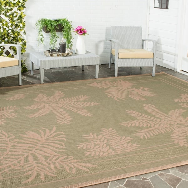 Safavieh Courtyard Ferns Green/ Natural Indoor/ Outdoor Rug - 8' X 11'